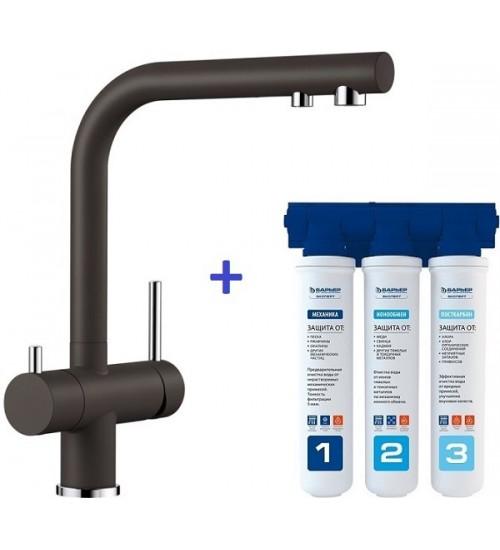 Комплект смеситель Blanco Fontas II Кофе + фильтр для воды BWT-Барьер Эксперт