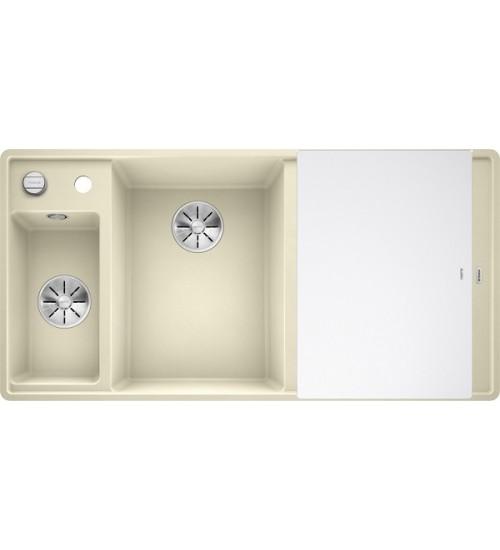 Кухонная мойка Blanco Axia III 6 S-F Жасмин, стеклянная доска (чаша слева)