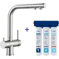 Комплект смеситель Blanco Fontas II Нержавеющая сталь + фильтр для воды BWT-Барьер Эксперт