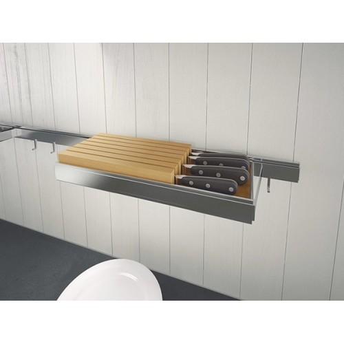 Держатель для ножей горизонтальный Lemi Barra 7140Е 435х160х42 мм, нержавеющая сталь