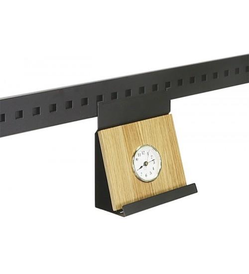 Полка с часами низкая дуб Поконар 160х80х180 мм, отделка черный бархат (матовый) П-07.9005