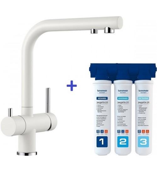 Комплект смеситель Blanco Fontas II Белый + фильтр для воды BWT-Барьер Эксперт