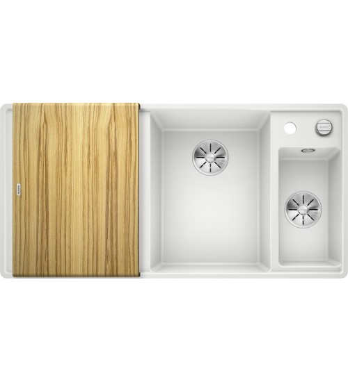 Кухонная мойка Blanco Axia III 6 S-F Белый, столик из ясеня (чаша справа)
