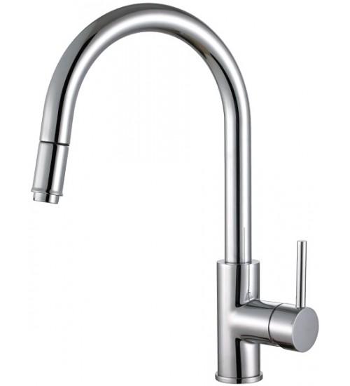 Кухонный смеситель Alveus Delos-P SAT Нержавеющая сталь (выдвижной шланг) 1129023