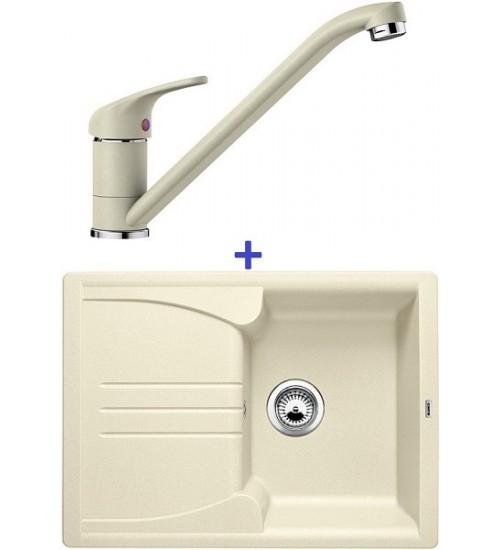 Комплект мойка Blanco Enos 40 S + смеситель Blanco Daras (SilGranit) Жасмин