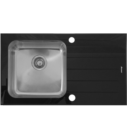 Кухонная мойка Seaman Eco Glass SMG-860CB, вентиль-автомат