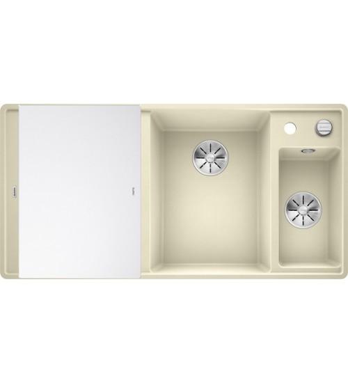Кухонная мойка Blanco Axia III 6 S-F Жасмин, стеклянная доска (чаша справа)