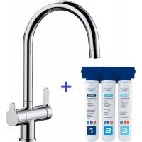 Комплект смеситель Blanco Trima Хром + фильтр для воды BWT-Барьер Эксперт