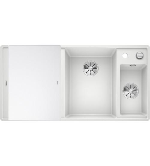 Кухонная мойка Blanco Axia III 6 S-F Белый, стеклянная доска (чаша справа)