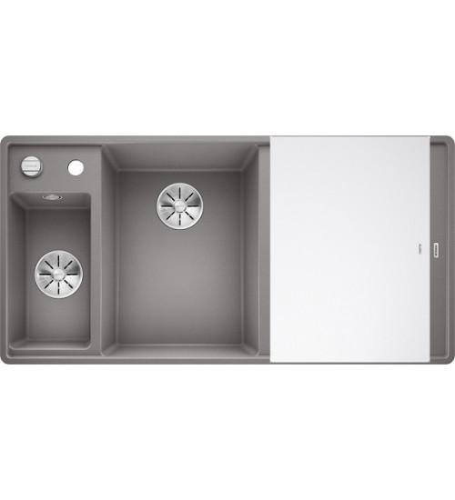 Кухонная мойка Blanco Axia III 6 S-F Алюметаллик, стеклянная доска (чаша слева)