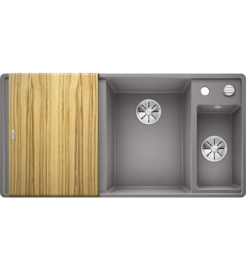 Кухонная мойка Blanco Axia III 6 S-F Алюметаллик, столик из ясеня (чаша справа)