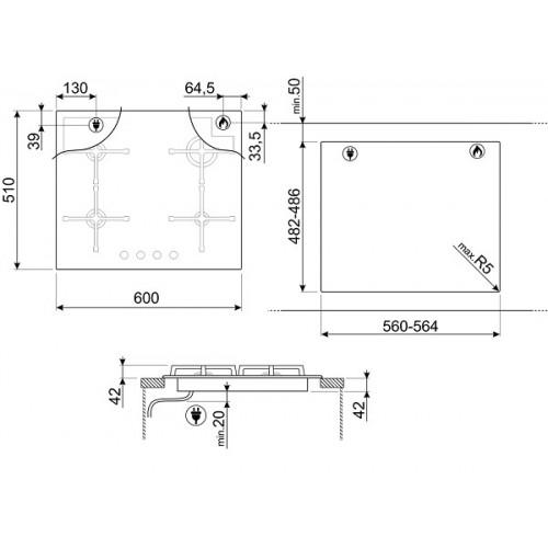 Встраиваемая газовая панель Smeg PV164B2