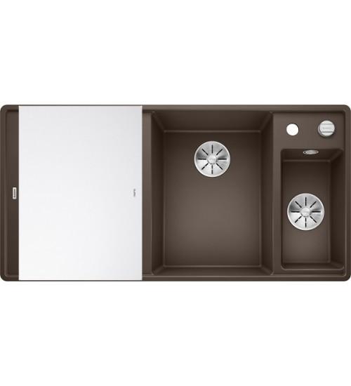 Кухонная мойка Blanco Axia III 6 S-F Кофе, стеклянная доска (чаша справа)