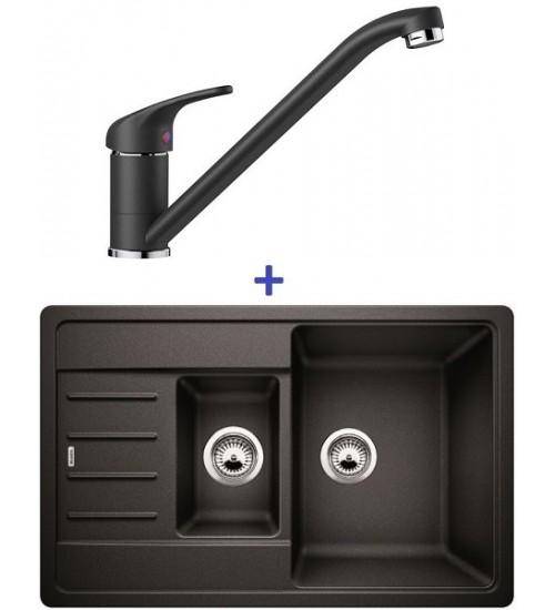 Комплект мойка Blanco Legra 6 S Compact + смеситель Blanco Daras (SilGranit) Антрацит