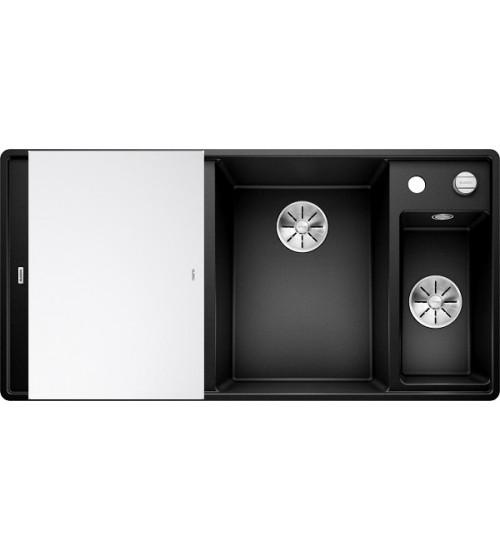 Кухонная мойка Blanco Axia III 6 S-F Черный, стеклянная доска (чаша справа)