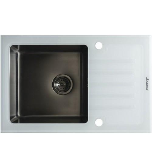 Кухонная мойка Seaman Eco Glass SMG-780W Gun (PVD), вентиль-автомат