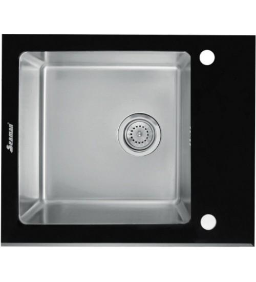 Кухонная мойка Seaman Eco Glass SMG-610B, вентиль-автомат