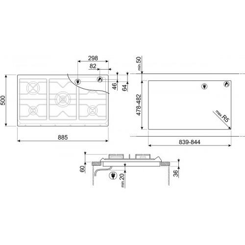 Встраиваемая газовая панель Smeg SRV896POGH