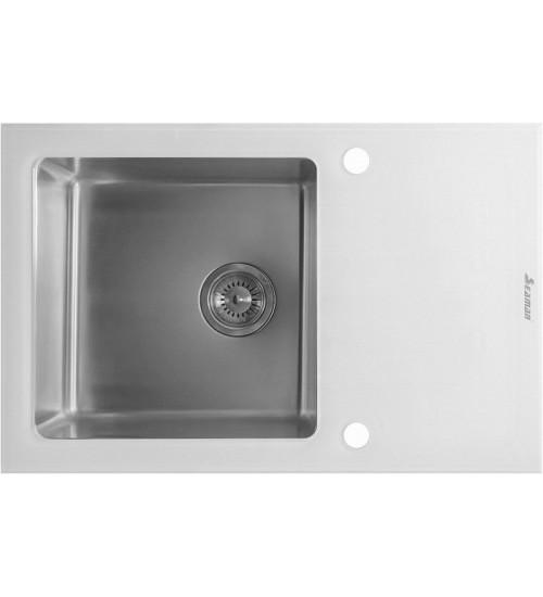 Кухонная мойка Seaman Eco Glass SMG-780W, вентиль-автомат