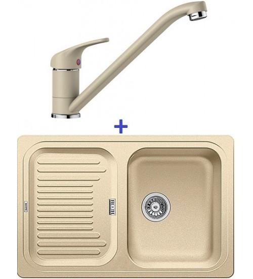 Комплект мойка Blanco Classic 45 S + смеситель Blanco Daras (SilGranit) Шампань