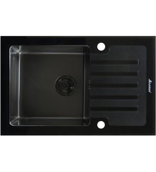 Кухонная мойка Seaman Eco Glass SMG-780B Gun (PVD), вентиль-автомат