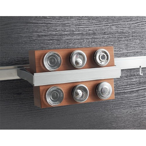 Полка для специй вертикальная с 6-ю банками Lemi Barra 7160Е 350х130х192 мм, нержавеющая сталь