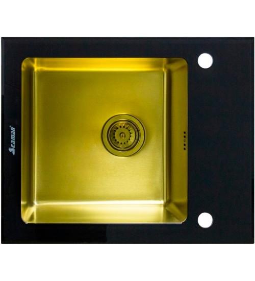 Кухонная мойка Seaman Eco Glass SMG-610B Gold (PVD), вентиль-автомат