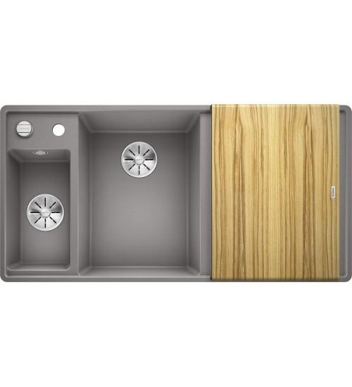 Кухонная мойка Blanco Axia III 6 S-F Алюметаллик, столик из ясеня (чаша слева)