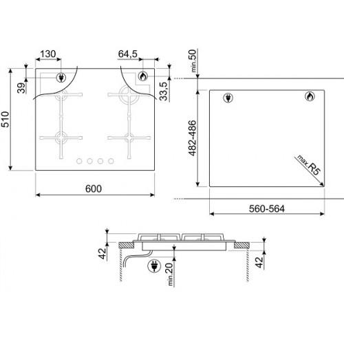 Встраиваемая газовая панель Smeg PV164N2