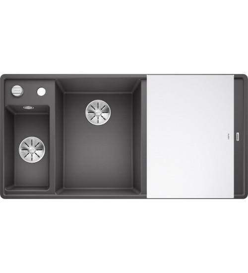 Кухонная мойка Blanco Axia III 6 S-F Темная скала, стеклянная доска (чаша слева)