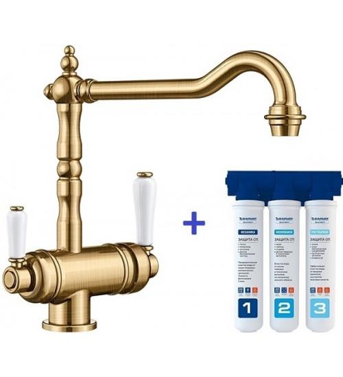 Комплект смеситель Blanco Sora Полированная латунь + фильтр для воды BWT-Барьер Эксперт