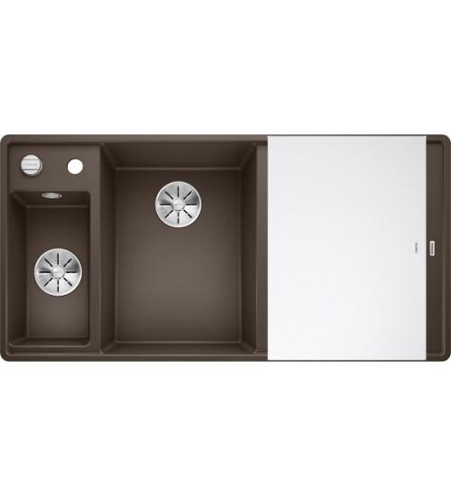 Кухонная мойка Blanco Axia III 6 S-F Кофе, стеклянная доска (чаша слева)