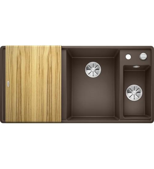 Кухонная мойка Blanco Axia III 6 S-F Кофе, столик из ясеня (чаша справа)