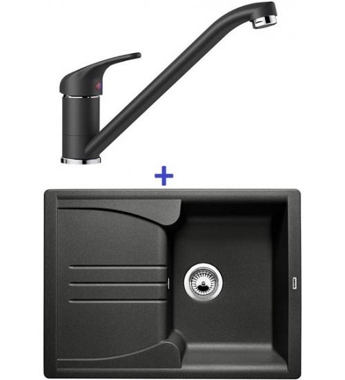Комплект мойка Blanco Enos 40 S + смеситель Blanco Daras (SilGranit) Антрацит