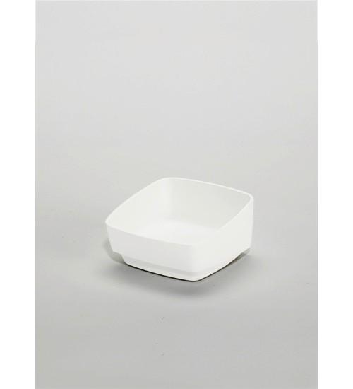 Стакан пластиковый низкий Kessebohmer 00 8911 9003, 100х100х55 мм, белый