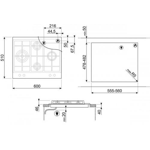 Встраиваемая газовая панель Smeg P260XGH