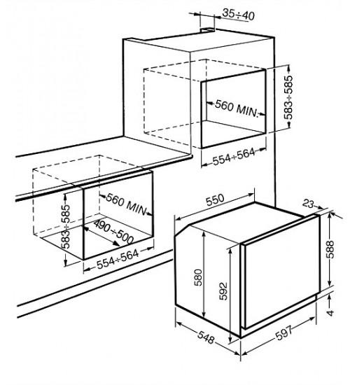 Электрический духовой шкаф Smeg SF6101VB