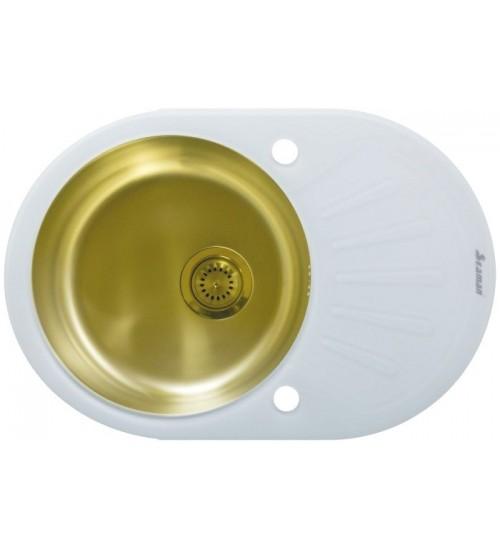 Кухонная мойка Seaman Eco Glass SMG-730W Gold (PVD), вентиль-автомат