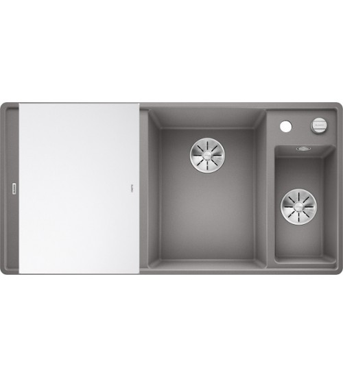 Кухонная мойка Blanco Axia III 6 S-F Алюметаллик, стеклянная доска (чаша справа)
