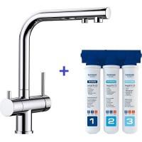 Комплект смеситель Blanco Fontas II Хром + фильтр для воды BWT-Барьер Эксперт