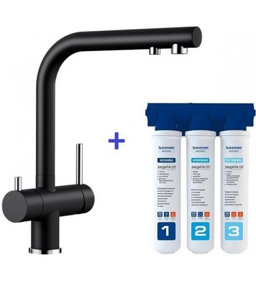Комплект смеситель Blanco Fontas II Черный + фильтр для воды BWT-Барьер Эксперт