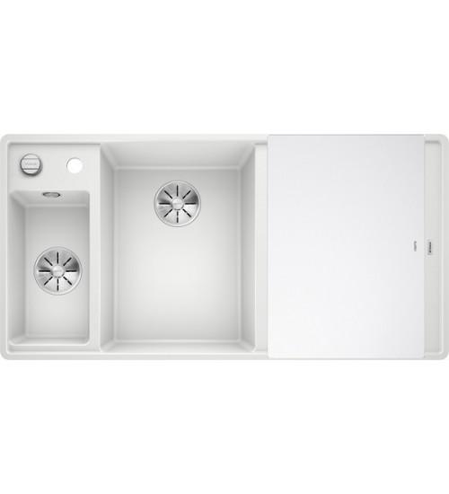 Кухонная мойка Blanco Axia III 6 S-F Белый, стеклянная доска (чаша слева)