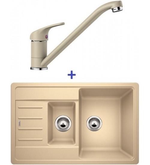 Комплект мойка Blanco Legra 6 S Compact + смеситель Blanco Daras (SilGranit) Шампань