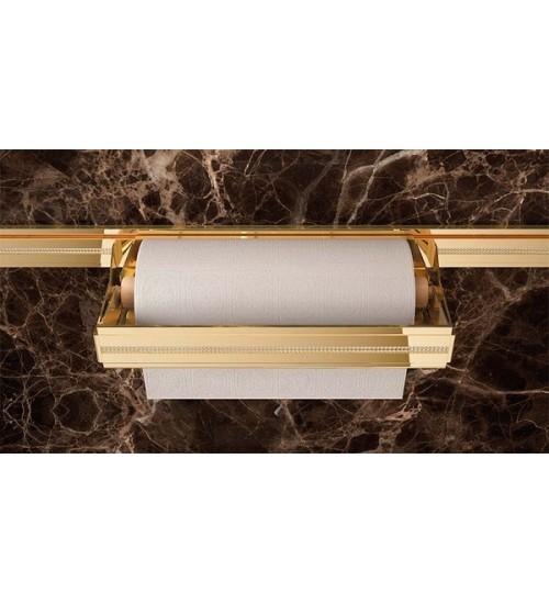 Держатель для бумажных рулонов Lemi Barra 73006 320х160 мм, золото + кристаллы Swarovski
