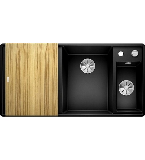 Кухонная мойка Blanco Axia III 6 S-F Черный, столик из ясеня (чаша справа)