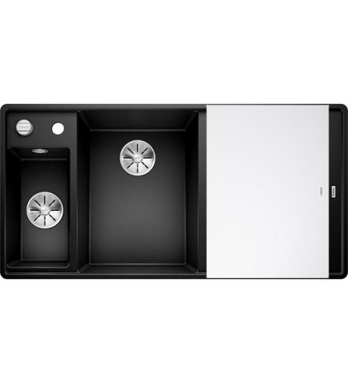 Кухонная мойка Blanco Axia III 6 S-F Черный, стеклянная доска (чаша слева)