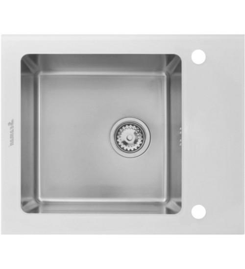 Кухонная мойка Seaman Eco Glass SMG-610W, вентиль-автомат