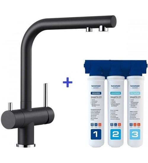 Комплект смеситель Blanco Fontas II Антрацит + фильтр для воды BWT-Барьер Эксперт