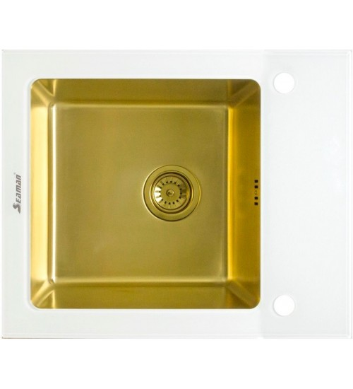 Кухонная мойка Seaman Eco Glass SMG-610W Gold (PVD), вентиль-автомат