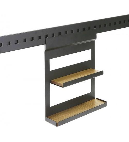 Полка для специй двухуровневая с вкладышем дуб Поконар 256х75х320 мм, отделка черный бархат (матовый) П-14.9005